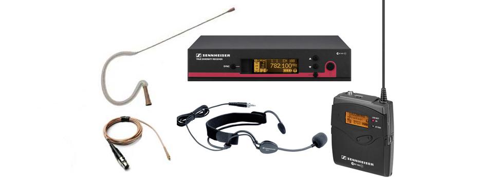 Noleggio Radiomicrofoni ad Archetto (headset) Sennheiser.