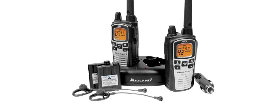 Noleggio sistema di interfono Walkie Talkie con auricolari.